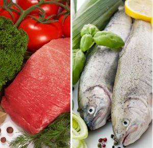 Нежирные сорта рыбы или мяса